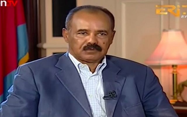 Eritrean President Isaias Afwerki in TV interview on January 20, 2018. (Screen capture/YouTube)