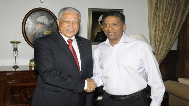 Cape verde minister of transport Gonçalves Seychelles' President Danny Faure