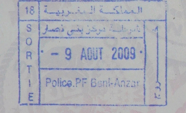 A Moroccan passport exit stamp