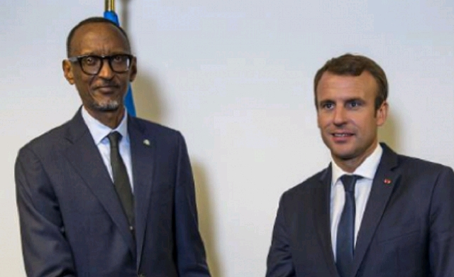 Rwandan President Paul Kagame (Left) and French leader, Emmanuel Macron.jpg
