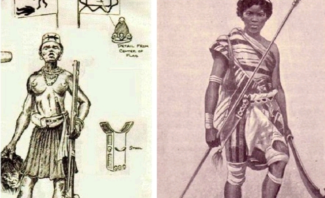 A dahomey warrior used to depict the Waalo warrior