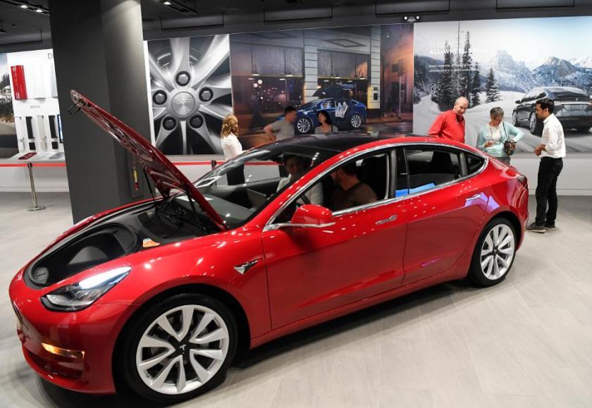 Tesla Model 3 on show.