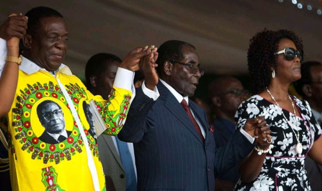 Mnangagwa , Grace and Robert Mugabe