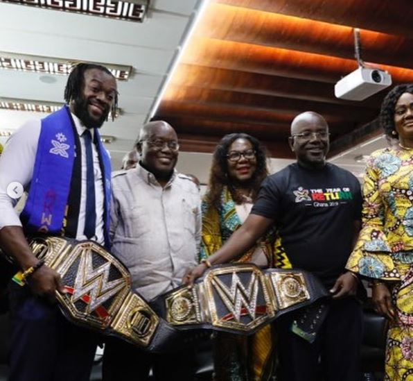 Kofi Kingston meeting with Ghana's president Nana Akufo Addo