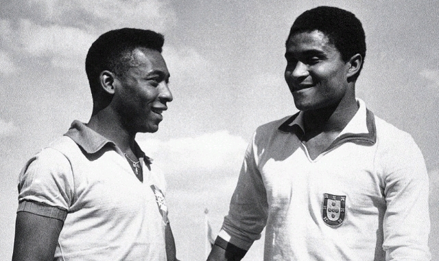 Eusebio with Pele