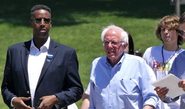 Abshir Omar and Bernie Sanders