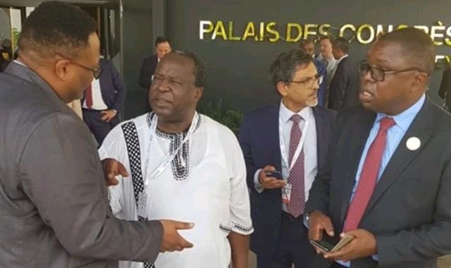 Zambia's Ambassodor to Ethiopia Mr Emmanuel Mwamba with Zambia's Foreign Affairs Minister Joseph Malanji speaking to South Africa's Finance Minister Mr Tito Mboweni