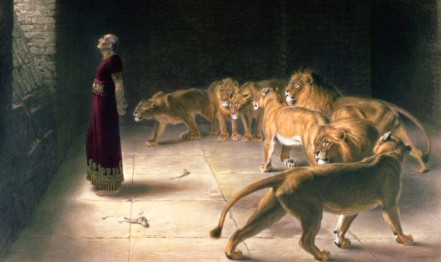 An illustration of the Biblical Daniel in the lions' den