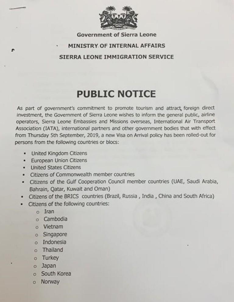 Sierra Leone New entry visa policy