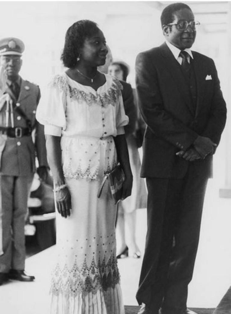 Robert Mugabe with Sally Mugabe.